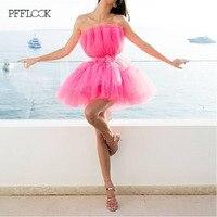 PFFLOOK Summer Pink Kendall Jenner Ball Gown Dress Women 2019 Tunic Bow Tie Quinceanera Dress Mini Elegant Party Dress Female