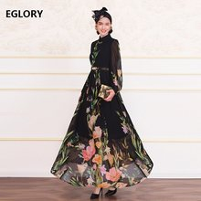 Plus Size Clothing 2019 Autumn Long Dress Vintage Party Evening Women Turn-down Collar Elegant Flower Print Long Maxi Dress 4XL(China)