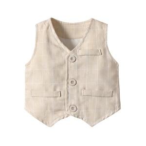 Image 3 - Ropa para niños pequeños, trajes de boda a rayas, chaleco + camisa blanca + Pantalones, trajes de 3 uds. De página, ropa de abrigo para niños 2020