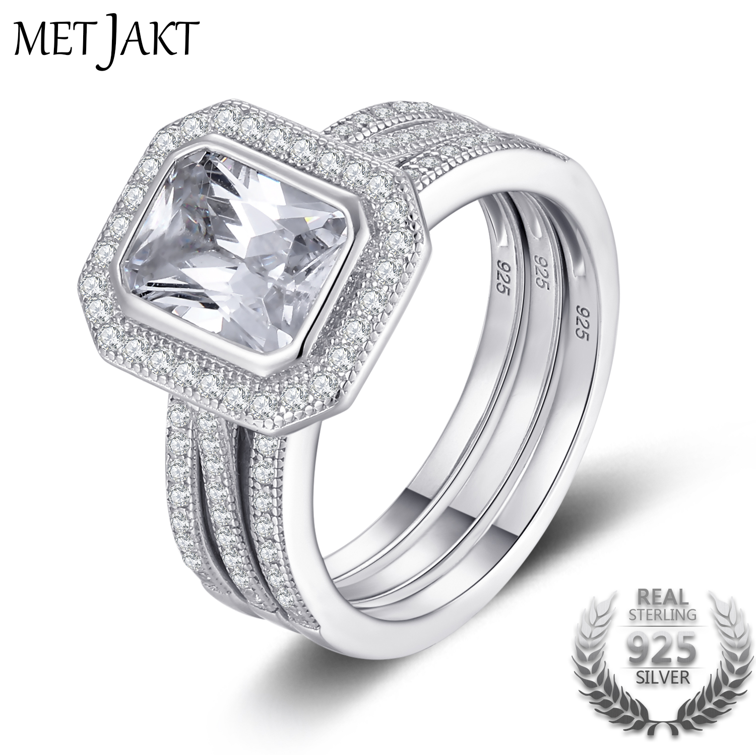 MetJakt Wedding Design Triple Rings Solid 925 Sterling Silver Cubic Zirconia Ring for Women's Wedding Birthday Party alcatel one touch pixi 3 8 0 9022x 8gb lte smoky grey 9022x 2aalru1