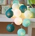 20 lâmpada/set Algodão Bolas Decorativas de Natal Luzes LED Suprimentos Cerca Villa Bar de Praia Decorações Do Partido de Casamento Guirlandas