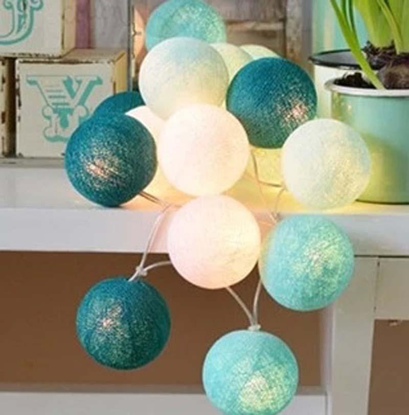 4.5m 20pcs Hard Cotton Ball Lights String For Garland Home Decoration Wedding Patio Indoor Lights String Bedroom Fairy Lights Lights & Lighting