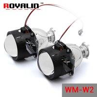 ROYALIN WM W2 עדשת H1 הלוגן מכונית מיני HID קסנון Bi פנס Retrofit מקרן 2.5 ''עבור H4 H7 אופנועים פנס אוטומטי עדשות