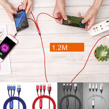 3 en 1 Micro USB tipo C IOS rápido de carga del Cable de datos del cargador para iPhone 8X7 6 6 S Plus iOS 10 9 8 Samsung Nokia USB(China)