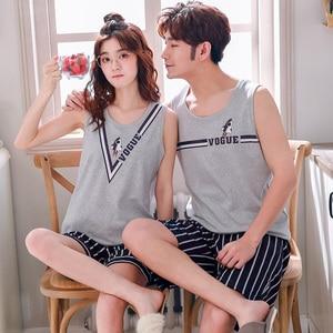 Image 2 - Summer Cotton Couple Vest Pajama Sets Cartoon Pijama Sleeveless Casual Cute Plus Size M 3XL 2Pcs/set Pyjamas Lovers Sleepwear