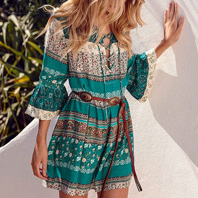 Women Bohemian Summer Dress 2017 Ethnic Vintage Dresses Plus Size 4xl 5xl Short  Boho Dress Flare Sleeve Beach Tunic Mini Dresses e9ba37fbc6de