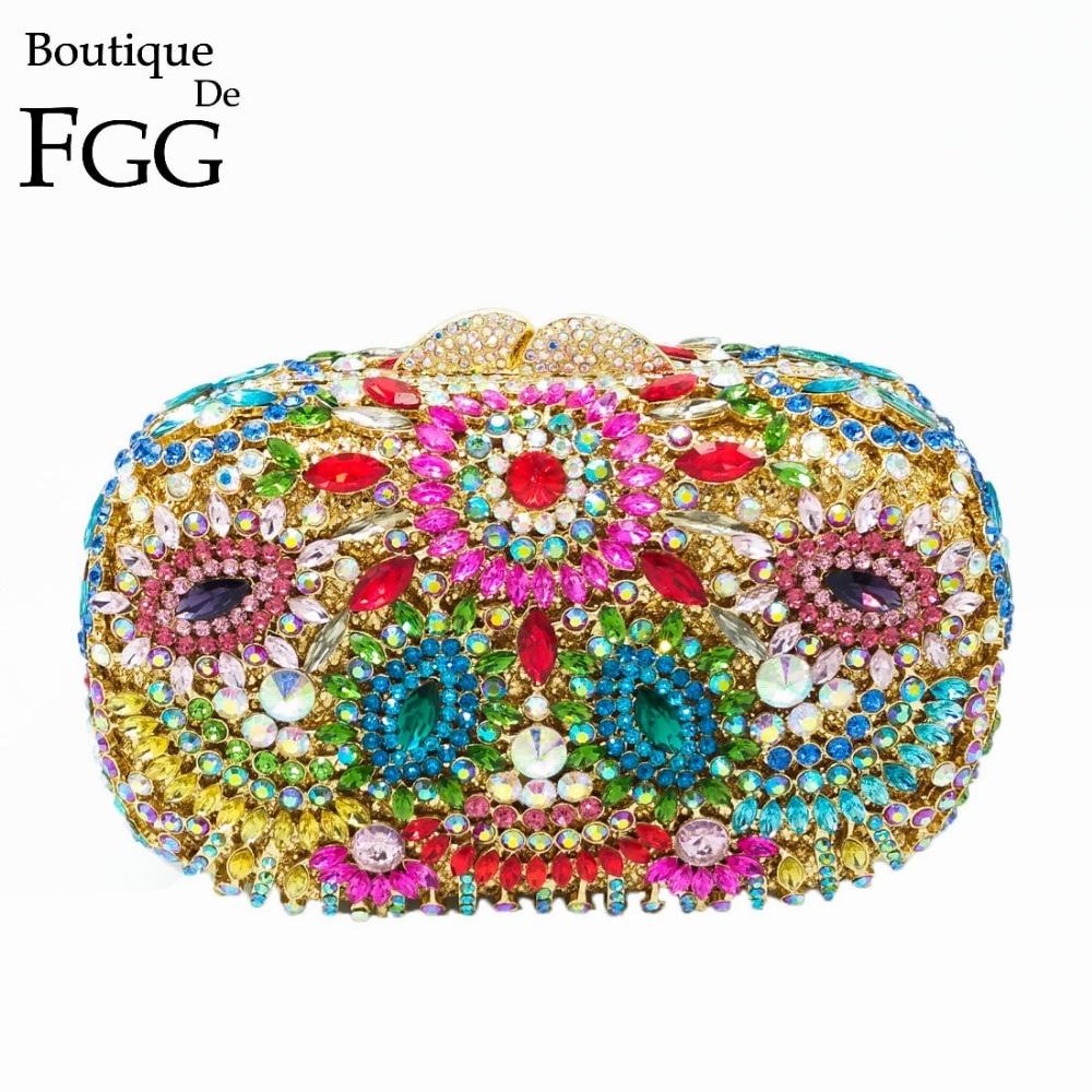 все цены на Boutique De FGG Hollow Out Bohemian Multicolored Women Evening Wedding Party Crystal Clutch Handbag Purse Metal Clutches Bag