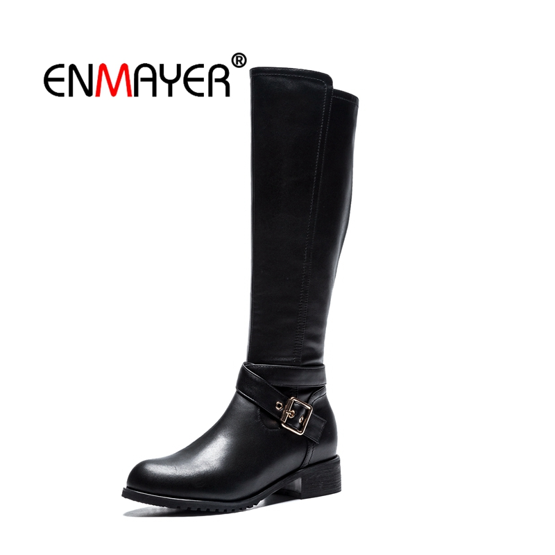 ENMAYER Woman Knee High boots Women Shoes Winter Boots Real Leather Thigh high booty Fashion Knight CR1967