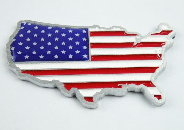 3D Aluminum Auto car American America United States map Flag Emblem Badge Sticker