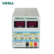 YIHUA fuente de alimentación de laboratorio 305D, ajustable 30V 5A doble LED, regulador de voltaje de conversión Digital A MA, fuente de alimentación CC lineal