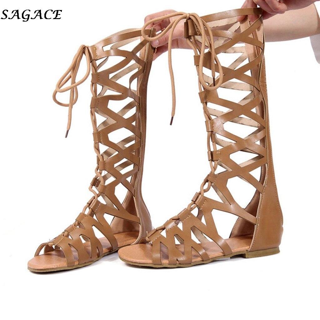 SAGACE Bandage Ankle-Boot Women Shoes Gladiator Flat Roman Knee-High Summer Hollow Girls