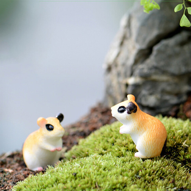 2pc Hamster Figurine Miniature Decoration for mini fairy garden animal statue Similation resin craft Home Car Decoration 5