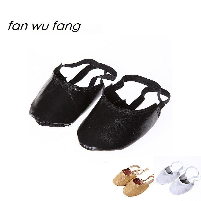 fan wu fang New Leather Canvas Beige Vit Svart Rhythmic Gymnastik Halvskor Konstnärlig Gym Skor Ballett Toe Skor Tofflor