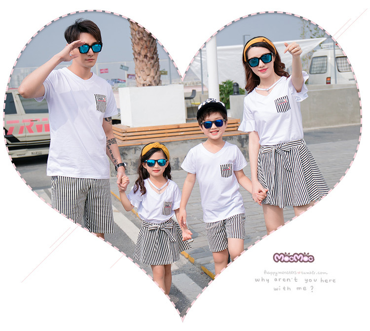 HTB1v0wFgbSYBuNjSspiq6xNzpXak - Fashion Summer Family Matching Outfits White V Neck T - Shirt With Stripes Shorts/Skirts Mother Dad Son Daughter Clothes Sets