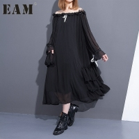 2017 Spring Summer Fashion New Solid Color Slash Neck Dress Loose Ruffles Drawstring Chiffon Dresses
