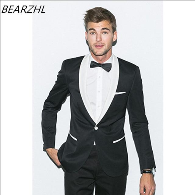newest b831a f7bac US $135.0 |Smoking per la cerimonia nuziale del vestito nero giacca con  colletto bianco su misura abiti da uomo sposo indossare 2017 in Smoking per  la ...