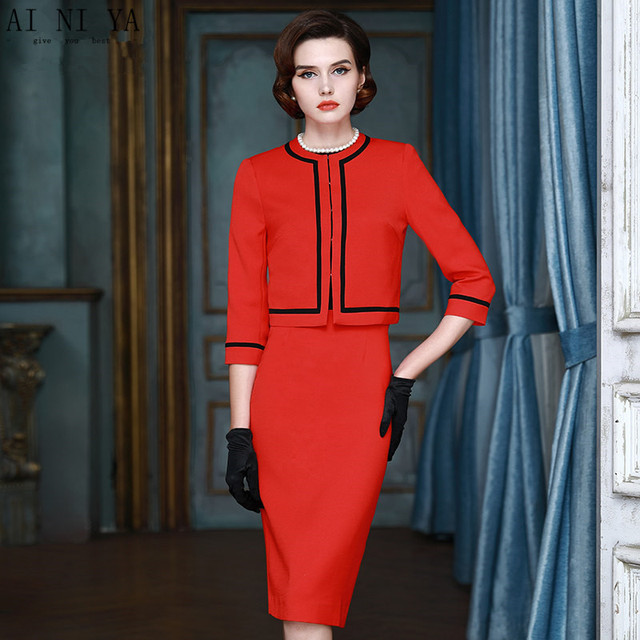 000c02529d Mulheres Ternos de Saia vermelha Outono Formal Do Escritório Terno de Saia  OL Blazer Jaqueta de