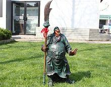 free shipping 008097 China 100% Pure Bronze Dragon Guan Gong warrior God Guan yu Decoration statue