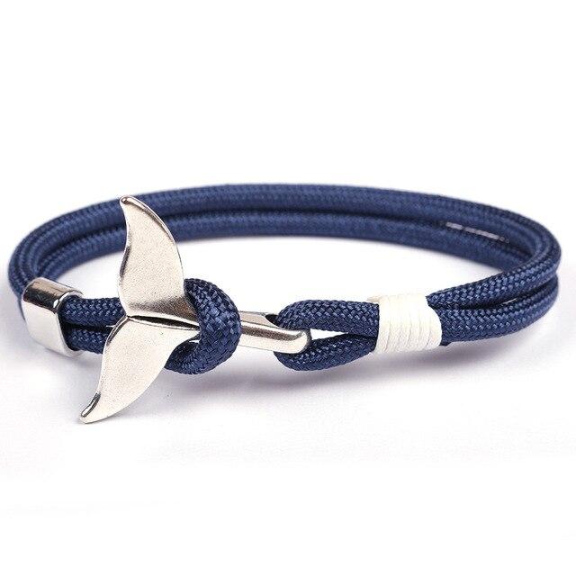 Punk ręcznie pleciony wieloryb ogon bransoletka typu Survival Handmade liny Viking kotwica Braslet dla mężczyzn nadgarstek biżuteria Bileklik Homme