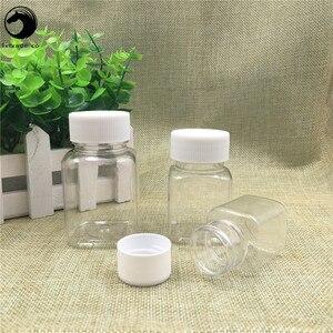 Image 2 - 무료 배송 30 ml 60 ml 80 ml lucency 플라스틱 알약 빈 포장 광장 주최자 병 항아리 새로운 스타일 리필 용기