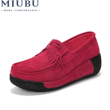 MIUBU Spring Women Genuine Leather Suede Ankle Boots Creeper Shoes Women Platform Wedge Women Casual Shoes Zapatos Mujer women loafers brand creeper wedge shoes woman genuine leather creepers quality women footwear designer platform shoes