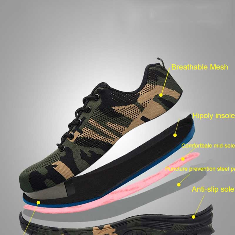 Summer Work & Safety Boots Construction Men Camouflage Puncture Proof Breathable Indestructible Safety Shoes Steel Toe Plus 48