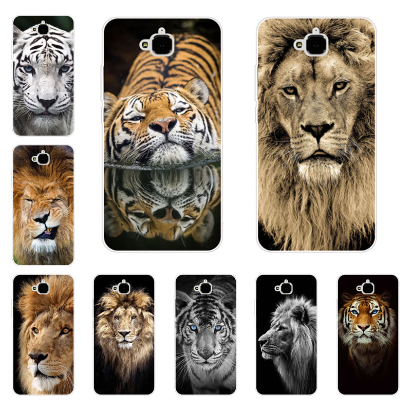 huawei honor 4c pro Case,Silicon Tigers and lions Painting Soft TPU Back Cover for huawei y6 pro Protect Phone cases shell