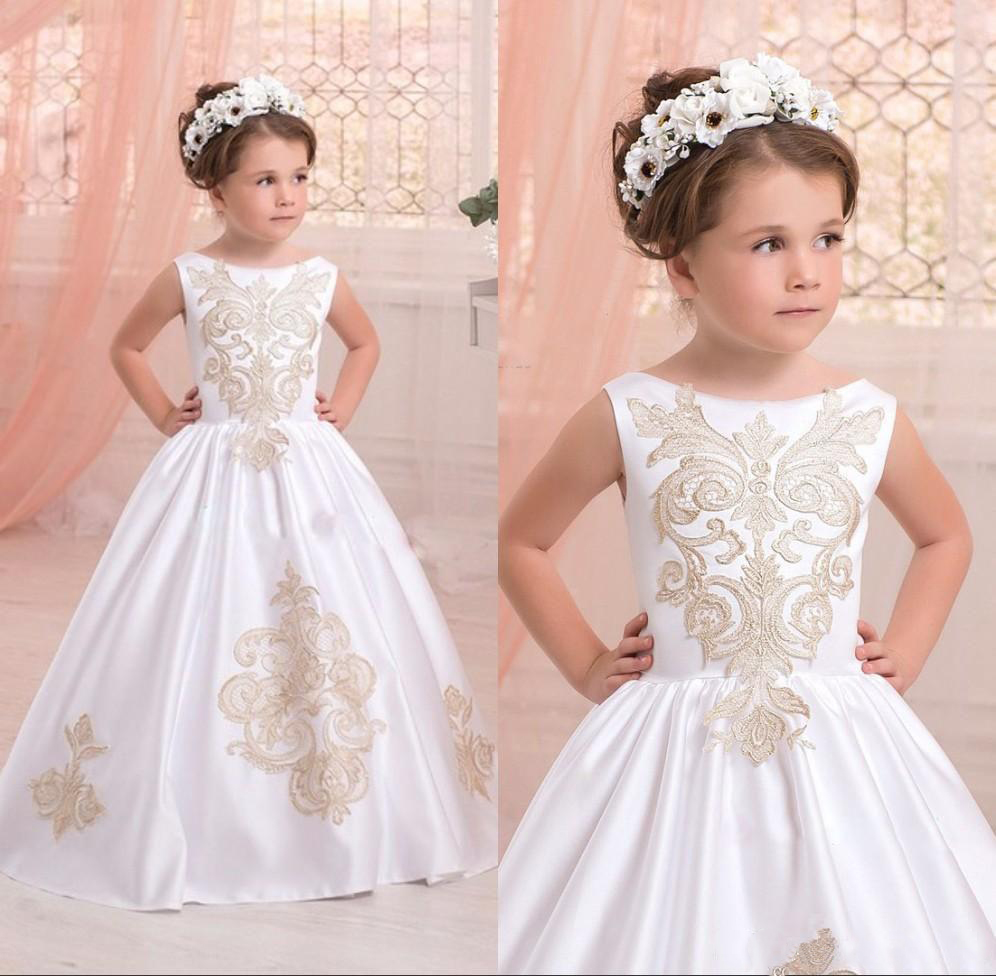 2019   Flower     Girls  '   Dresses   for Weddings with Applique Bodice Sleeveless Communion   Dress   for Party