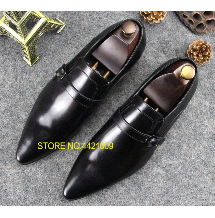 Italian Leather Shoes For Men 2018 Spring Summer Buckles Man Dress Wedding Formal Oxfords Slip On Male Party Prom Oxfords red patent leather man dress shoes fashion slip on oxfords for men genuine leather punk buckle chain formal party wedding shoes