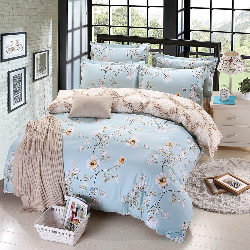 Bed Linens Polyester 4pcs Bedding Sets Bed Set Duvet Cover Bed Sheet Cover Set AB Side Art Big Flower Duvet Cover