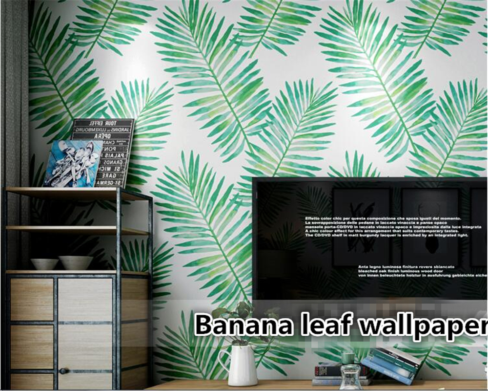 Beibehang papier peint mural 3d intérieur de la maison feuille de banane tropicale forêt tropicale plante salon chambre TV sol vinyle mur