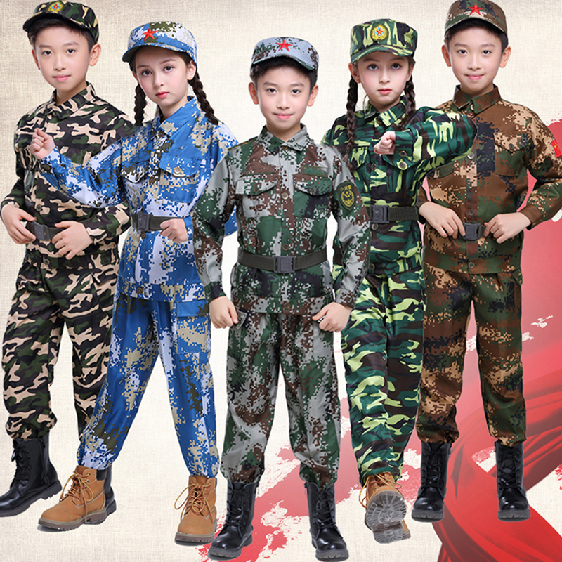 Home Kids Battle Soldier Costume Boys Military Uniform Cosplay Carnaval Costume For Kids Camo Trooper Costume For Children 100-160cm