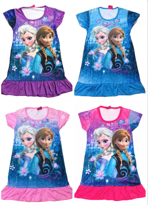 4Colors In Stock Snow Queen Elsa Anna Girls Short Sleeve Cartoon Dress Summer Girl Pajamas Nightgown Sleepwear Nightie Dress