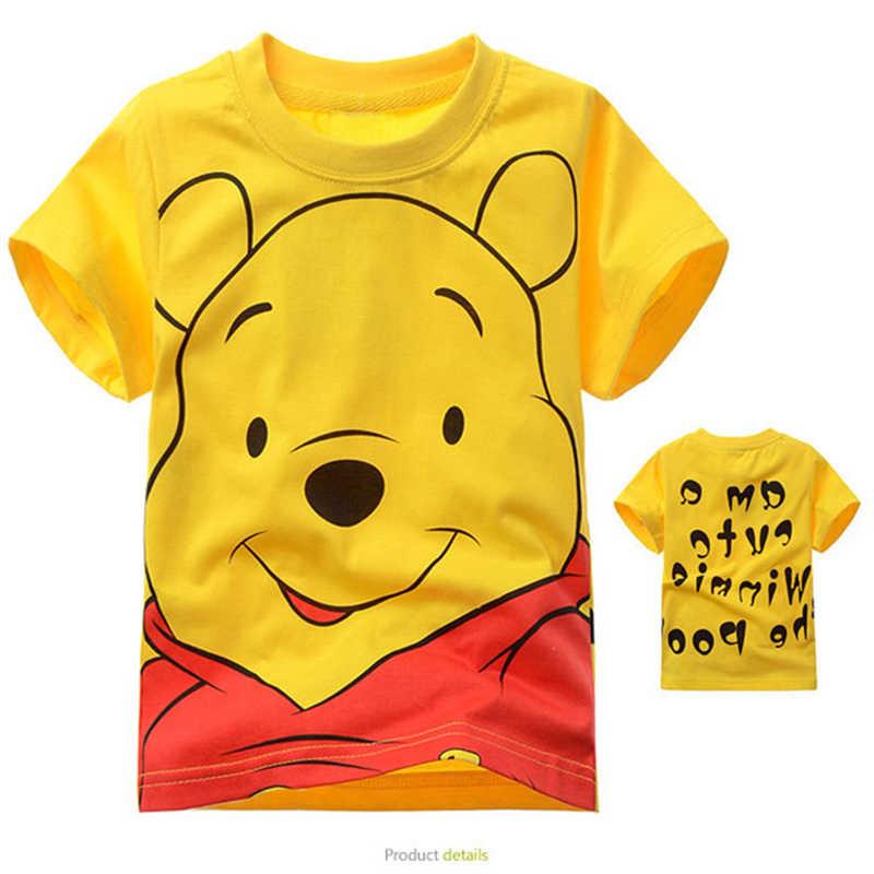 Летняя футболка для мальчиков и девочек хлопковая футболка с короткими рукавами детская одежда с принтом Винни