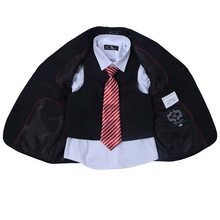 New Fashion Black Boys Suits with Tint Striped Boy Formal Suit Blazers 3-Piece Suits Including Pant coat Vest