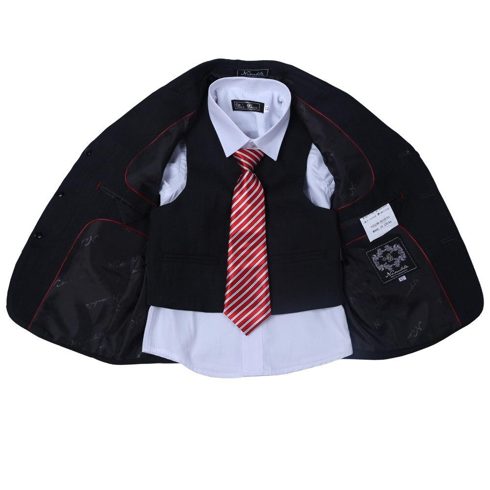 New Fashion Black Boys Suits with Tint Striped Boy Formal Suit Blazers 3 Piece Suits Including Pant coat Vest