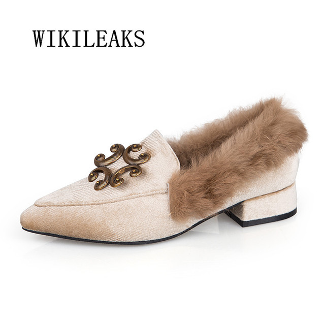 Chic Ladies New Feather Fluffy Flat Slip On Autumn Pointed Toe Casual Shoes Size