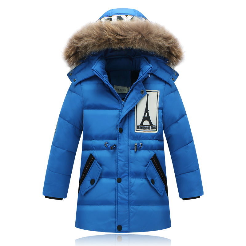 ФОТО 2016 Children Clothing Top Down Jackets For Boys Winter Jackst Fur Hooded Collar Thick Warm Coat Jacket  Boy Winter Warm Outwear