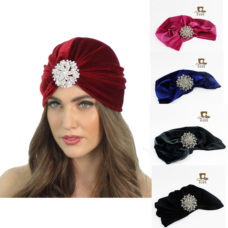 Velvet Flapper jeweled brooch Stretch Full Turban Headband Great Gatsby Ear Warmer Hat VT-21