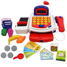 New Fashion Pretend Play Electronic Cash Register Toy Realistic Actions & Sounds With Mic Free Shipping