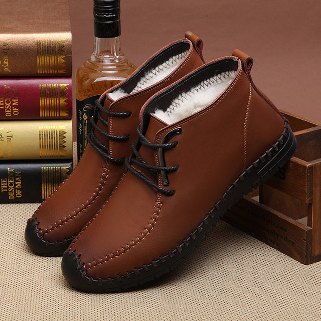 New Fashion Mens Genuine Leather Lace up Comfort Warm Fur Winter Casual Snow Ankle Boots
