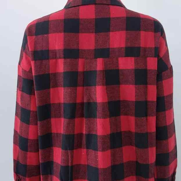 Длинная блузка красная клетчатая женская рубашка с принтом Повседневная Блузка женские топы хлопок обычный рукав Высокое качество Новый модный стиль