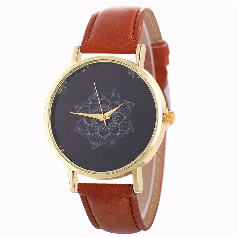 Hot Sale Flower Clock Ladies Watch Leather Bracelet Female Casual Luxury Quartz Women Wrist Watches Bayan Saat relogio feminino