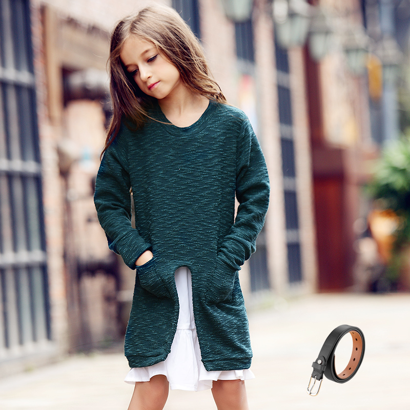 Knitted Autumn Dress Cotton Dresse + Leather Bell Vetement Fille Kids Clothes Girls Dresses for Girls Age 11 Dress for Girl Kids dresse