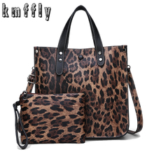 ef480a91f714 KMFFLY Brand Women Messanger Bag Casual Leather Ladies 2-piece Tote  Designers Leopard Print Women