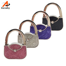 1pc Portable Folding Rhinestone Crystal Alloy Handbag Bag Hanger Hook Holder Purple Newest 2016 Fashion 30