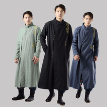 Chinese Linen Cotton chinese long gown winter mens cotton ramie chenille Long robe silver buckle gold embroidered Large lammy