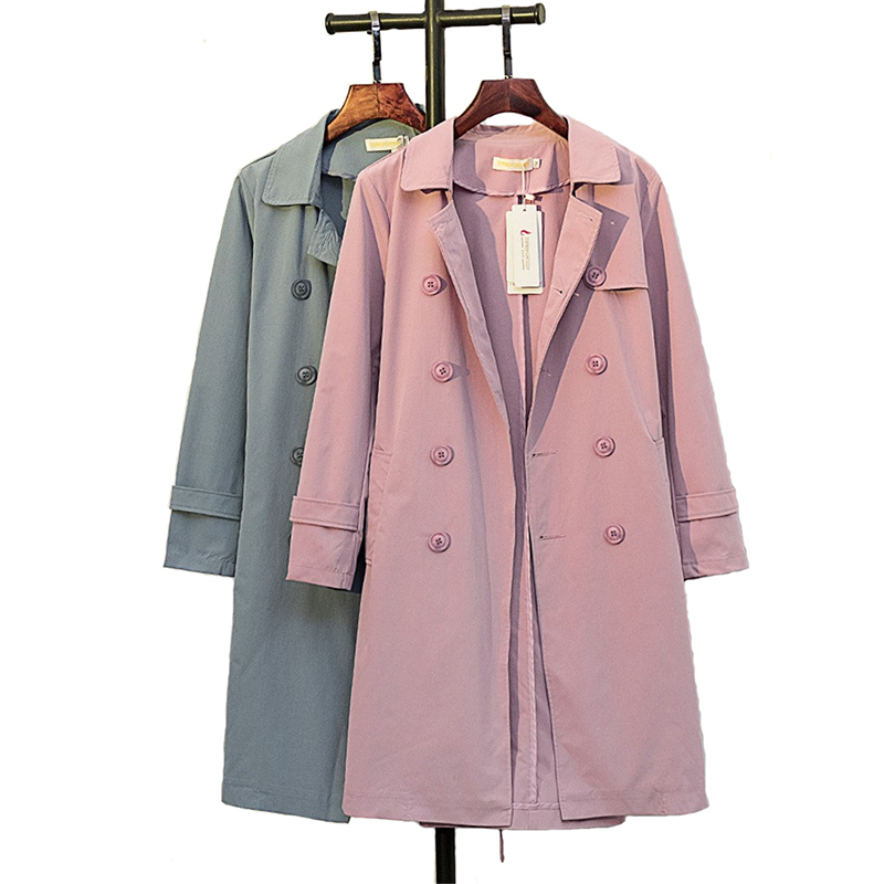 Plus size 5XL Cotton   Trench   Coat Women 2019 Spring Autumn Solid color Double-breasted Long Windbreaker Casual Tops Female A2470