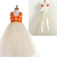 Fashion 3D Flower Beaded Neck Ivory Tutu Dress Tulle Party Wedding Birthday Dress Kids
