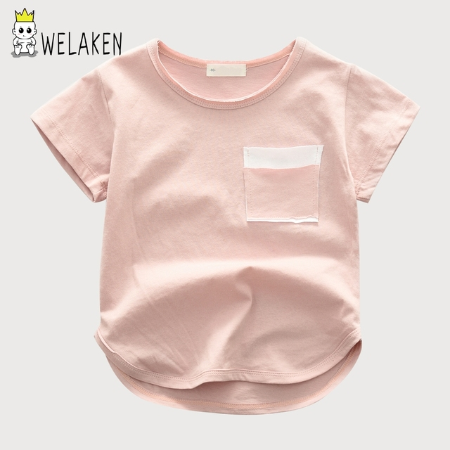 191ad78f1ccf weLaken Kids Tshirts 2018 Summer Solid Color Short Sleeve Tops Baby ...